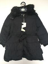BNWT Monsoon Winter Coat. Hooded. Girls. Black. Age 5 - 10 Years. Lined. Frilly
