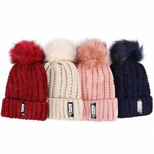 Fashion Women Crochet Knitted Hat Pompom Ball Winter Warm Cap Wool Fur Beanie