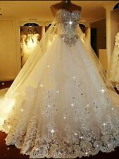 Luxury Sparkle Wedding Dress with Crystals Detachable Back Train Bridal Gown