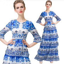 Women's Blue White Porcelain Floral Long Sleeve Full Length Layered Long Dress