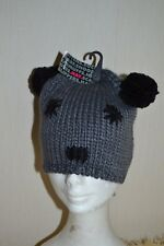 LADIES HAT WITH PANDA/TEDDY FACE     BEANIE STYLE WINTER HAT   ONE SIZE