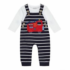 Bluezoo Kids Baby Boys' Navy Striped Fire Truck Applique Dungarees And Top Set