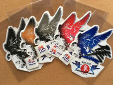HAYABYSA Falcon and Kanji stickers decals Mini size L&R set Silver trimmed New
