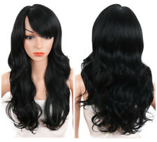 Sexy Long Body Wavy Wigs with Side Bangs Natural Black Synthetic Wigs for Women