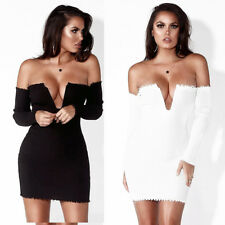 Womens Slim Off The Shoulder Bodycon Party Boat Neck Knit Short Sweater Dress