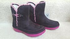 CROCS GIRL FAUX SUEDE BROWN PINK KELCIE BOOTS SHOES Youth J 2 4 NWT $60