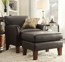 Dark Brown Leather Furniture Accent Chair and/or Ottoman Set Chairs Living Room