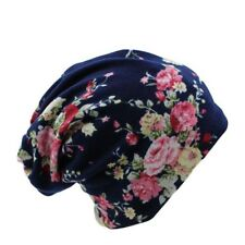 Women Floral Flowers Print Warm Hats Winter Knitted Caps Hip-hop Bonnet Beanies