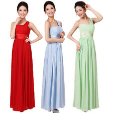 Women's Chiffon One Shoulder Bridesmaid Maxi Evening Formal Prom Party Dress