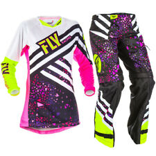 Fly Racing 2018 Youth Girls Kinetic Jersey OTB Pants Package - Neon Pink/Hi Vis