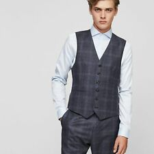 NEW CAINE W CHECK WOOL WAISTCOAT AIRFORCE BLUE MENS CAINE W CHECK WOOL WAISTC...