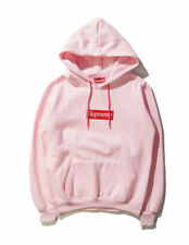 Pink Men's SUPREME Hip Hop Hoodie Embroidered Cotton Sweater Hoodies