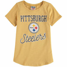 Junk Food Pittsburgh Steelers Girls Youth Yellow Script T-Shirt - NFL