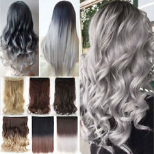 Ombre Hair Curly Real Long Hair Hairpiece Clip in Hair Extensions Half Full Head