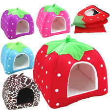 Strawberry Pet Dog Cat Doggy Puppy Bed House Soft Kennel Basket Pad Warm Cushion