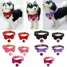 Adjustable Pet Cat Dog Puppy Bowknot Collar Safety Buckle with Bell NEW
