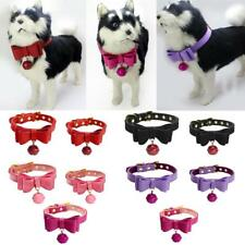 Adjustable PU Leather Bowknot Puppy Collar Dog Pet Collar Neck Strap with Bell