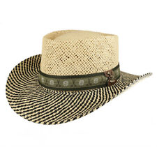 UV 50+ Men's Straw Wide Brim Gambler Hat with Golf Themed Hat Band