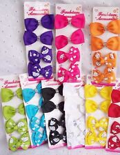HELLO KITTY HAIR  BOW CLIP BARRETTE= 4 PC :PINK-PURPLE-BLUE-RED-YELLOW-GIRL-TEEN