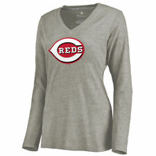Cincinnati Reds Women's Ash Primary Logo Long Sleeve Tri-Blend V-Neck T-Shirt