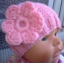 PINK  HAND KNITTED BABY GIRLS HAT- FLOWER ,EARLY BABY TO 3-6 MONTHS