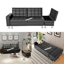 Luxury Faux Leather Sofa Bed with Storage Cup holder recliner sofabed 3 Seater