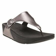 New Womens Fitflop Liquid Gray The Skinny Leather Sandals Flip Flops Buckle