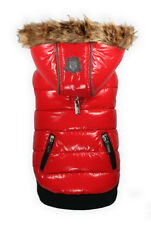 Hip Doggie Elite Reflective Upscale Hooded Puffer Dog Coat -Red Sizes XS-XL