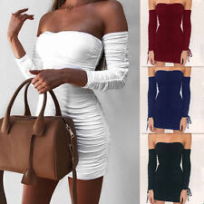 Bodycon Bandage Slim Womens Off Shoulder Long Sleeve Party Cocktail Mini Dress