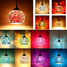 Vintage style mosaic ceiling light hanging lampshade pendant stained glass New