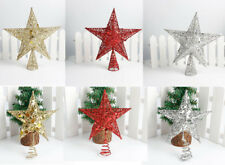 Christmas Tree Gold Silver Star Glitter Topper Decorations Xmas Home Ornament