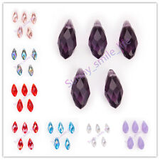 10Pcs DIY Teardrop Pendant Bracelet Glass Crystal Beads Findings 10x20mm 40Color