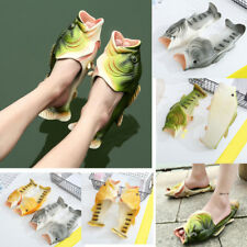 Unisex Couple Cute Creative Fake Fish Shower Slippers Funny Beach Shoes Sandals