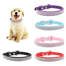 Adjustable Pet Dog PU Leather Collar Puppy Cat Rhinestone Buckle Neck Strap