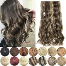 Professional Thick One Piece Clip In hair Extensions Long Wavy AS Human 5 Clips