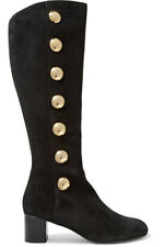 Women Round Toe Gold Studs Faux Suede Block Heel Knee Boots Casual Shoes Black