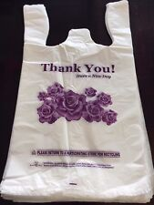 MD White Flower Thank you plastic shopping bag for retail store, grocery, 10x18
