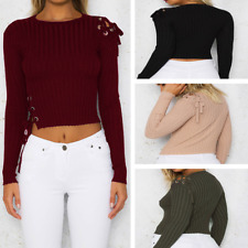 Fashion Women Slim Short Tops Jumper Blouse Long Sleeve Bandage Sweater Pullover