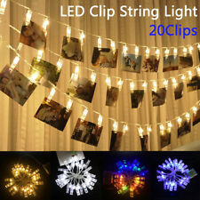US LED Party String Lights 20 LED Photo Clip String Lights Battery USB Operated