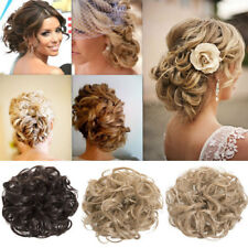 Women Curly Clip in Hair Bun Hair Extension Tail Party Scrunchie Up Do Hairpiece