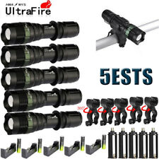 50000LM 5Modes T6 LED Flashlight Zoom Military Torch Lamp 18650 360° Mount Clip