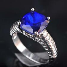 2017 New Popular Deep Blue Sapphire Zircon Silver Gold Filled Ring Size 5~10