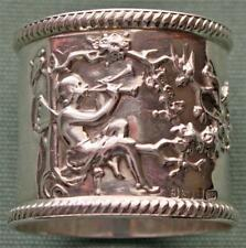 1902 Antique Sterling Napkin Ring, Winged Figure Blowing 2 Horns, Birds