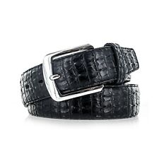 Men's Genuine Leather Lizard Skin Textured Belt With Silver Buckle