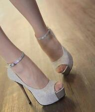 Womens Platform Pumps Blinking Stiletto peep Toe Strappy High Heel Shoes Ankle