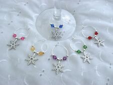 6 X CHRISTMAS SNOWFLAKE WINE GLASS CHARMS PARTIES GIFTS TABLE DECORATIONS