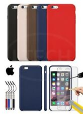 Apple iPhone 6S - Leather Hard Back Case Cover, Ret Stylus & GLASS Protector