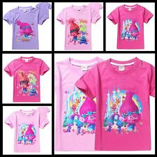 Girls TROLLS Short-Sleeved 100% Cotton T-Shirt in pink or lilac - NWT 4-11 Yrs