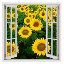 CANVAS (Rolled) Sunflower Field Fake 3D Window Oil Painting Print Art