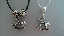 LOVELY GIRLS ROCKING  HORSE CHARM PENDANT NECKLACE,FREE POST IN OZ